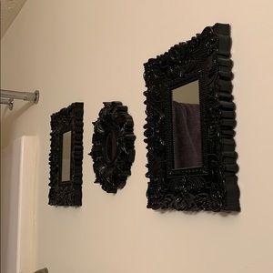 Three Black Ornate Mirrors